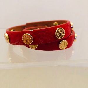 Tory Burch- Double Wrap Leather Bracelet in Red